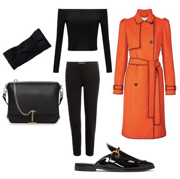 black-slim-pants-black-bag-black-top-offshoulder-head-black-shoe-loafers-orange-jacket-coat-trench-fall-winter-lunch.jpg