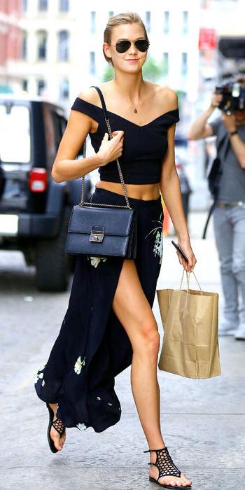 black-maxi-skirt-black-top-crop-necklace-black-bag-sun-bun-karliekloss-wear-style-fashion-spring-summer-black-shoe-sandals-offshoulder-celebrity-blonde-lunch.jpg