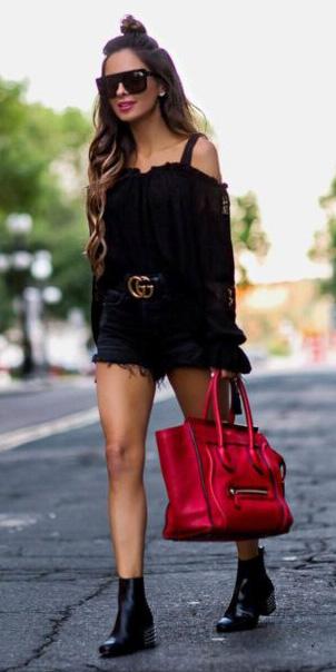black-shorts-belt-red-bag-tote-black-shoe-booties-black-top-offshoulder-spring-summer-hairr-lunch.jpg