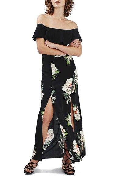 black-maxi-skirt-black-top-wear-style-fashion-spring-summer-black-shoe-sandalh-floral-offshoulder-lunch.jpg
