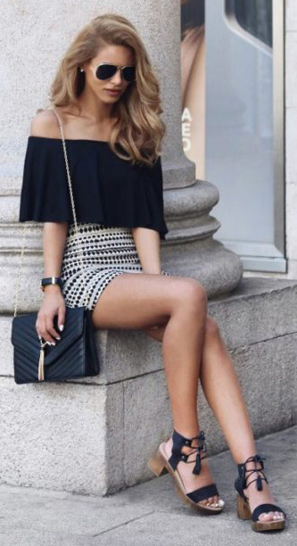 white-mini-skirt-black-top-offshoulder-black-bag-black-shoe-sandals-sun-spring-summer-blonde-lunch.jpg