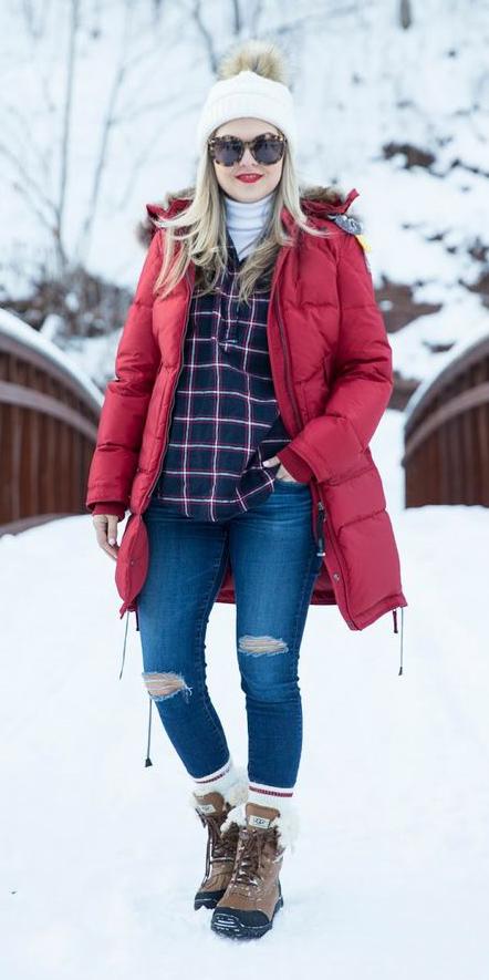 blue-med-skinny-jeans-white-tee-turtleneck-blonde-sun-beanie-socks-layer-plaid-tan-shoe-booties-snow-red-jacket-coat-parka-fall-winter-outfit-weekend.jpg