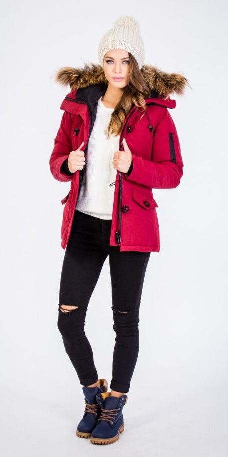 black-skinny-jeans-white-sweater-hairr-beanie-blue-shoe-booties-red-jacket-coat-parka-fall-winter-outfit-weekend.jpg