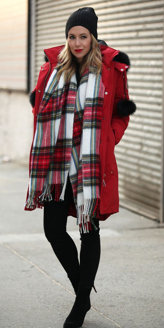 red-jacket-coat-parka-red-scarf-plaid-print-blonde-beanie-fall-winter-outfit-weekend.jpg