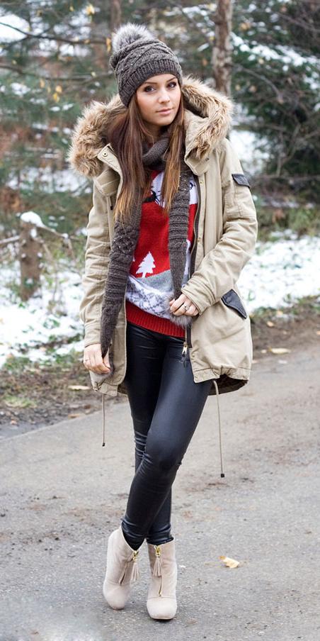 black-leggings-red-sweater-christmas-tan-shoe-booties-beanie-hairr-tan-jacket-coat-parka-fall-winter-outfit-weekend.jpg