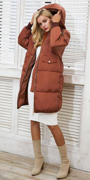 white-dress-sweater-bodycon-tan-shoe-booties-blonde-camel-jacket-coat-parka-fall-winter-outfit-dinner.jpg