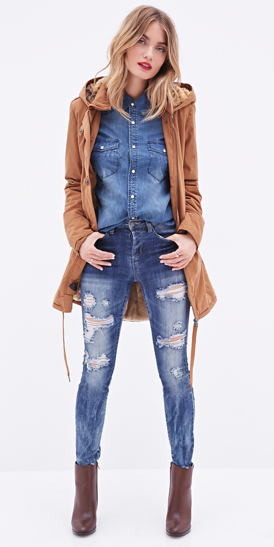 blue-med-skinny-jeans-brown-shoe-booties-blue-med-collared-shirt-blonde-camel-jacket-coat-parka-fall-winter-outfit-weekend.jpeg