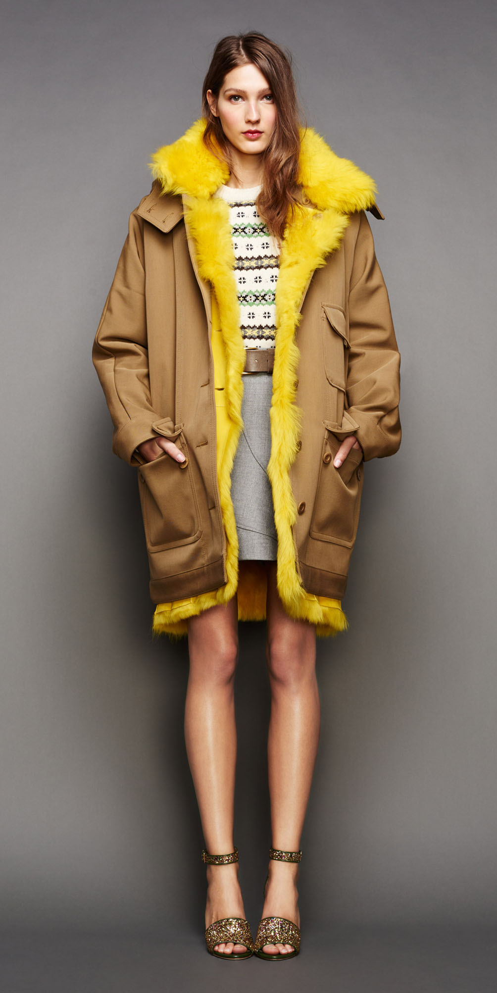 grayl-mini-skirt-white-sweater-print-fairisle-belt-jcrew-hairr-tan-shoe-sandalh-camel-jacket-coat-parka-fall-winter-outfit-lunch.jpg