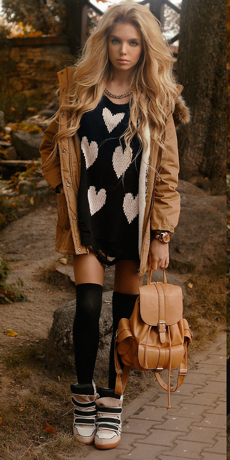 black-sweater-heart-print-socks-white-shoe-sneakers-cognac-bag-pack-blonde-chain-necklace-camel-jacket-coat-parka-fall-winter-outfit-weekend.jpg
