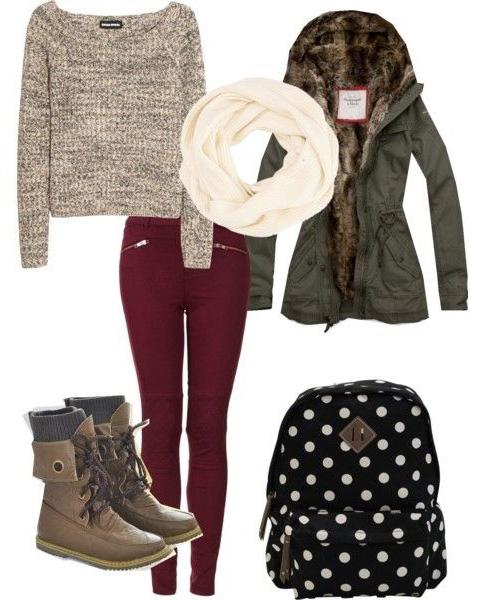 burgundy-skinny-jeans-tan-sweater-white-scarf-black-bag-pack-green-olive-jacket-coat-parka-brown-shoe-booties-fall-weekend.jpg