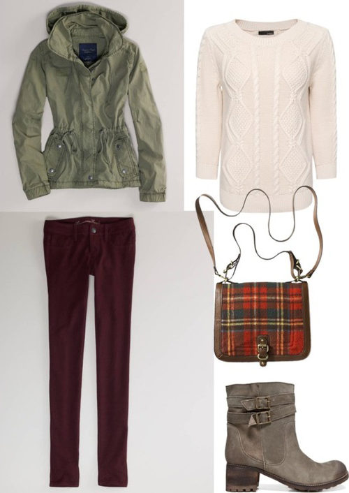 burgundy-skinny-jeans-corduroy-white-sweater-green-olive-jacket-coat-parka-red-bag-gray-shoe-booties-fall-winter-outfit-weekend.jpg