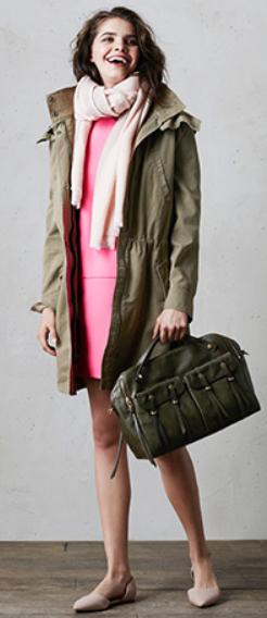 pink-magenta-dress-green-olive-jacket-coat-parka-pink-light-scarf-green-bag-tan-shoe-flats-shift-mini-fall-winter-hairr-lunch.jpg