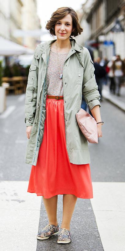 red-midi-skirt-tan-sweater-green-olive-jacket-coat-parka-hairr-bob-fall-winter-weekend.jpg