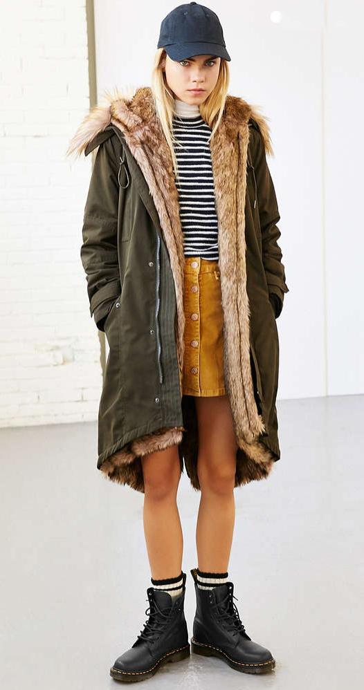 yellow-mini-skirt-black-tee-stripe-hat-cap-wear-style-fashion-fall-winter-green-olive-jacket-coat-parka-black-shoe-booties-socks-blonde-weekend.jpg
