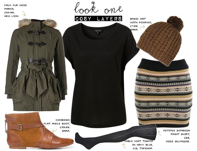o-tan-mini-skirt-black-tee-green-olive-jacket-coat-black-tights-stripe-beanie-cognac-shoe-booties-parka-howtowear-fashion-style-outfit-fall-winter-weekend.jpg