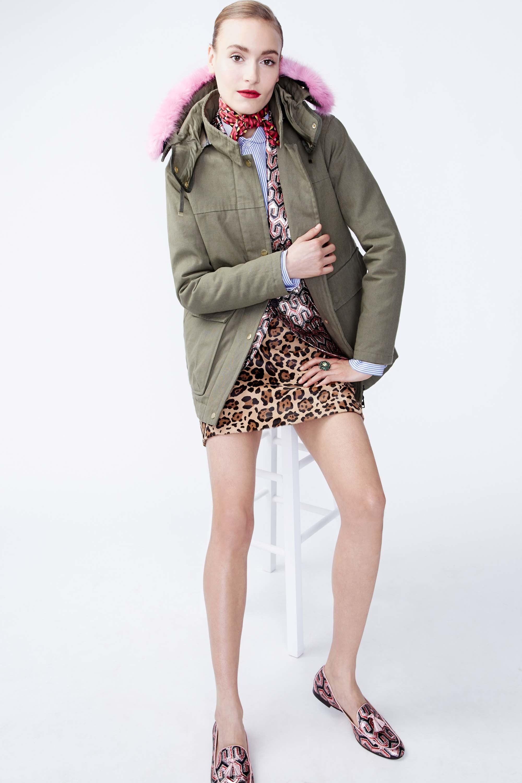 tan-mini-skirt-parka-bun-fall-winter-leopard-red-scarf-neck-green-olive-jacket-coat-pink-shoe-flats-hairr-lunch.jpg