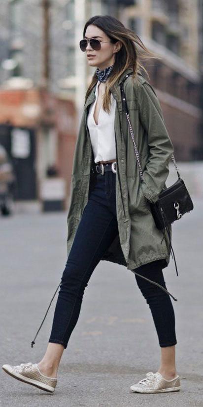 blue-navy-skinny-jeans-belt-white-top-blouse-blue-navy-scarf-neck-bandana-green-olive-jacket-coat-parka-hairr-sun-tan-shoe-sneakers-fall-winter-weekend.jpg