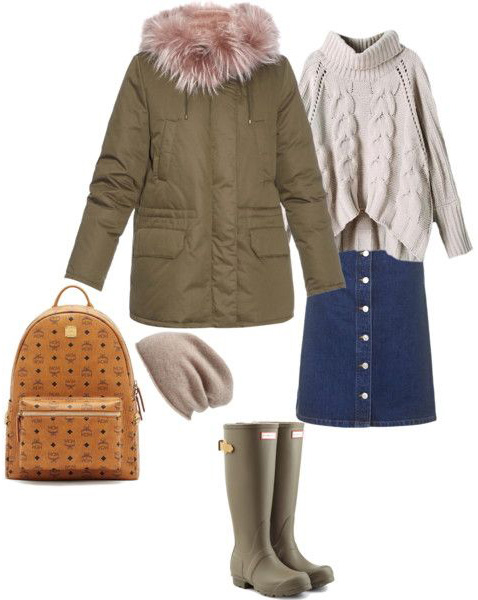 blue-navy-mini-skirt-white-sweater-turtleneck-beanie-green-shoe-boots-rain-wellies-cognac-bag-pack-green-olive-jacket-coat-parka-fall-winter-outfit-lunch.jpg