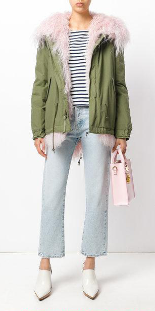 blue-light-crop-jeans-blue-navy-tee-stripe-pink-bag-white-shoe-booties-green-olive-jacket-coat-parka-fall-winter-outfit-lunch.jpg