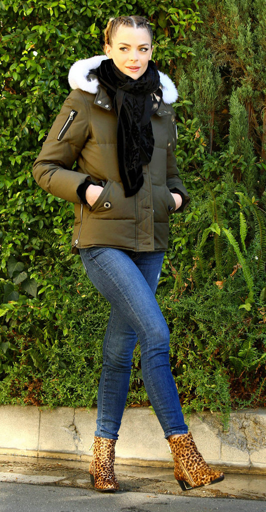 blue-med-skinny-jeans-yellow-shoe-booties-leopard-print-black-scarf-blonde-braid-green-olive-jacket-coat-parka-fall-winter-outfit-weekend.jpg