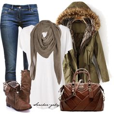 blue-navy-skinny-jeans-white-tee-green-olive-jacket-coat-parka-tan-scarf-brown-shoe-booties-brown-bag-howtowear-fashion-style-outfit-fall-winter-weekend.jpg