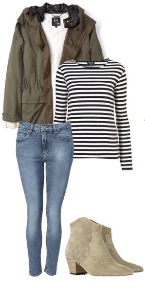 blue-med-skinny-jeans-black-tee-stripe-green-olive-jacket-coat-parka-tan-shoe-booties-howtowear-fashion-style-outfit-fall-winter-weekend.jpg
