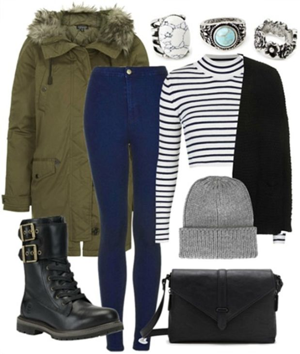 blue-navy-skinny-jeans-blue-navy-tee-stripe-black-cardiganl-green-olive-jacket-coat-howtowear-fashion-style-outfit-fall-winter-parka-beanie-ring-crop-black-shoe-booties-black-bag-weekend.jpg