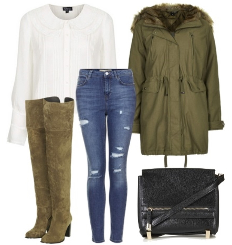 blue-med-skinny-jeans-white-top-blouse-howtowear-style-fashion-fall-winter-green-olive-jacket-coat-parka-green-shoe-boots-black-bag-lunch.jpg