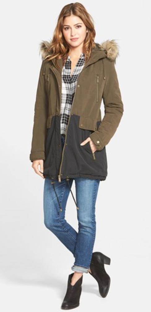 blue-med-skinny-jeans-white-plaid-shirt-green-olive-jacket-coat-parka-howtowear-style-fashion-fall-winter-black-shoe-booties-hairr-weekend.jpg