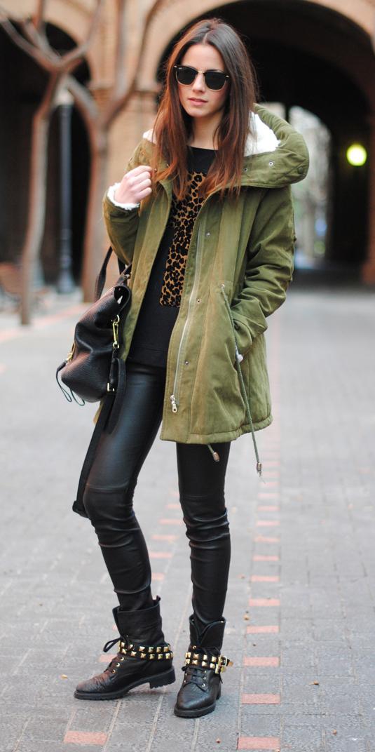black-leggings-leather-green-olive-jacket-coat-parka-hairr-sun-black-bag-black-shoe-booties-camel-sweater-leopard-print-fall-winter-weekend.jpg