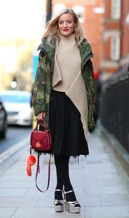 black-aline-skirt-tan-sweater-burgundy-bag-black-tights-gray-shoe-sandalh-blonde-camo-print-green-olive-jacket-coat-parka-fall-winter-outfit-lunch.jpg