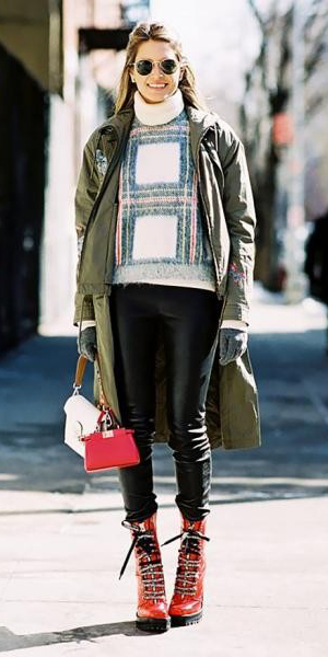 black-leggings-white-sweater-turtleneck-sun-green-olive-jacket-coat-parka-red-bag-red-shoe-booties-combat-hairr-fall-winter-outfit-weekend.jpg