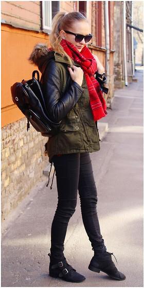 black-skinny-jeans-red-scarf-blonde-pony-sun-black-bag-pack-black-shoe-booties-green-olive-jacket-coat-parka-fall-winter-outfit-weekend.jpg