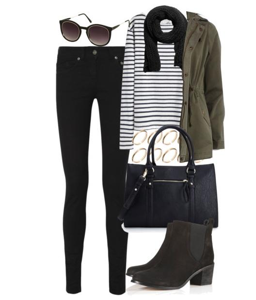 black-skinny-jeans-black-tee-stripe-green-olive-jacket-coat-parka-anorak-black-scarf-black-bag-black-shoe-booties-sun-bracelet-howtowear-fashion-style-outfit-fall-winter-weekend.jpg