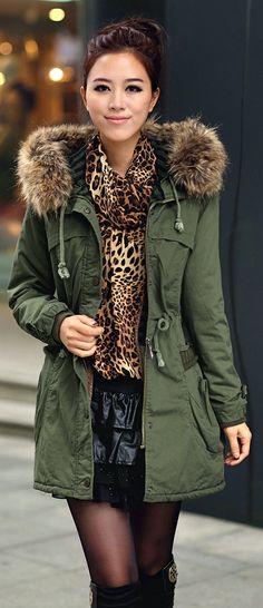 black-mini-skirt-o-tan-top-leopard-green-olive-jacket-coat-parka-bun-black-tights-asian-black-shoe-boots-howtowear-fashion-style-outfit-fall-winter-brun-lunch.jpg