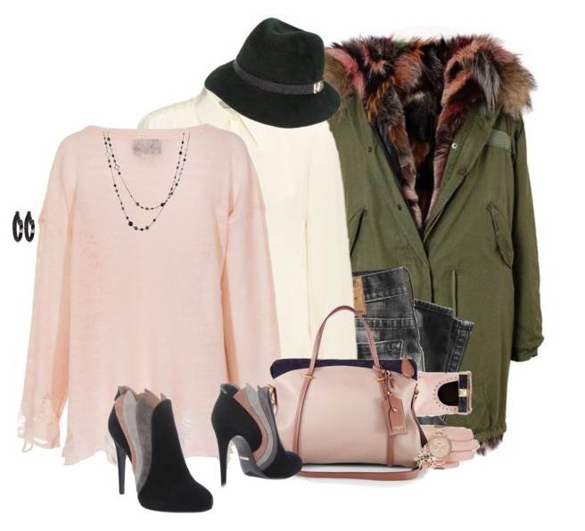 black-skinny-jeans-white-top-blouse-pink-light-sweater-green-olive-jacket-coat-parka-pink-bag-black-shoe-booties-hat-necklace-howtowear-fashion-style-outfit-fall-winter-lunch.jpg