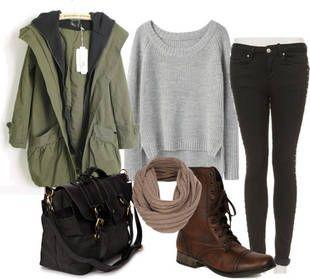 black-skinny-jeans-grayl-sweater-green-olive-jacket-coat-parka-black-bag-howtowear-fashion-style-outfit-fall-winter-tan-scarf-brown-shoe-booties-sweatshirt-weekend.jpg