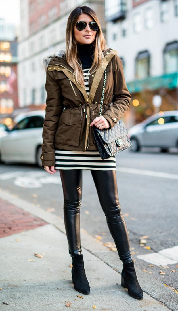 black-leggings-black-top-stripe-green-olive-jacket-coat-utility-parka-turtleneck-fall-winter-black-shoe-booties-sun-black-bag-hairr-weekend.jpg