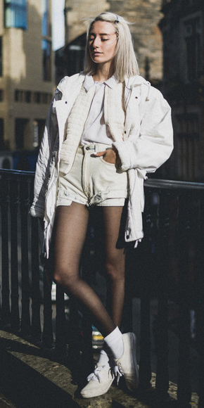 white-shorts-black-tights-socks-white-shoe-sneakers-blonde-lob-mono-white-jacket-coat-parka-fall-winter-weekend-layer.jpg