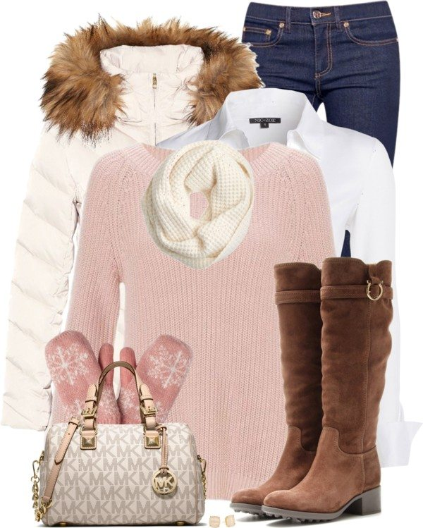 blue-navy-skinny-jeans-white-collared-shirt-layer-gloves-white-scarf-brown-shoe-boots-white-bag-pink-light-sweater-white-jacket-coat-parka-fall-winter-outfit-weekend.jpg