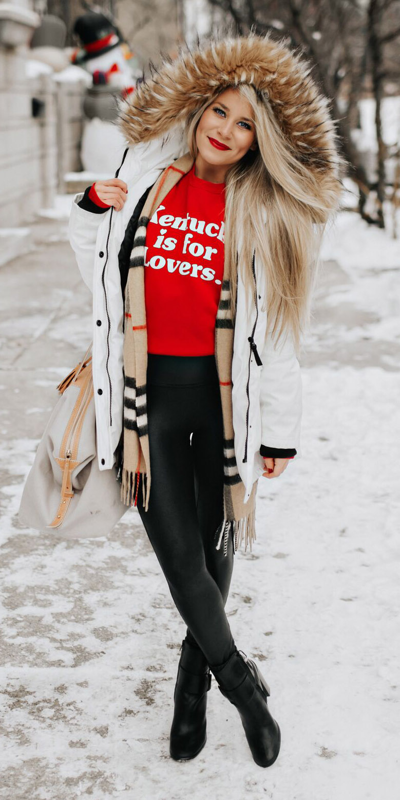 black-leggings-red-sweater-sweatshirt-graphic-tan-scarf-plaid-print-blonde-black-shoe-booties-white-jacket-coat-parka-fall-winter-weekend.jpg