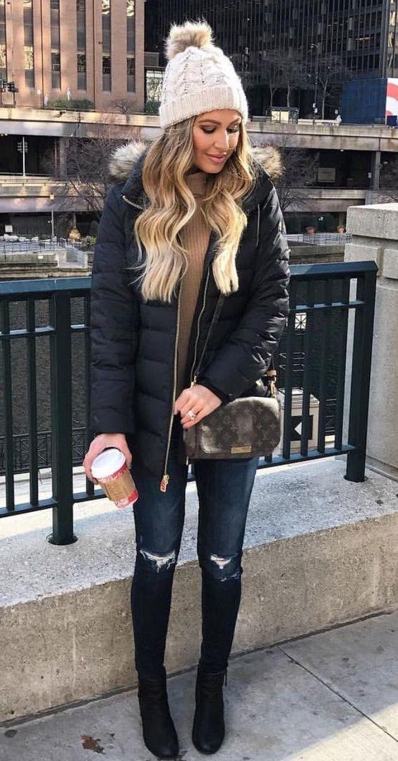blue-navy-skinny-jeans-tan-sweater-turtleneck-blonde-beanie-brown-bag-black-jacket-coat-parka-fall-winter-weekend.jpg