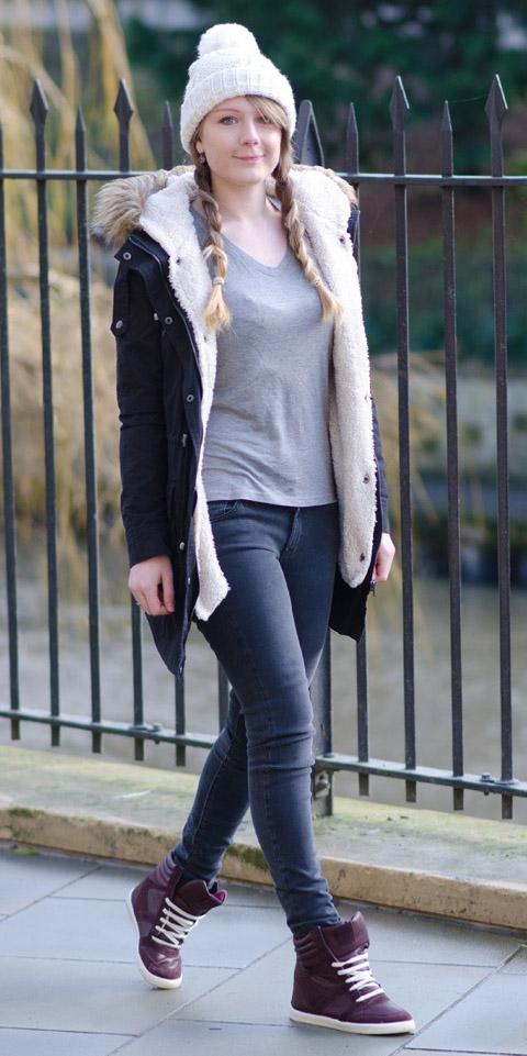 grayd-skinny-jeans-burgundy-shoe-sneakers-grayl-tee-blonde-braid-beanie-black-jacket-coat-parka-fall-winter-weekend.jpg