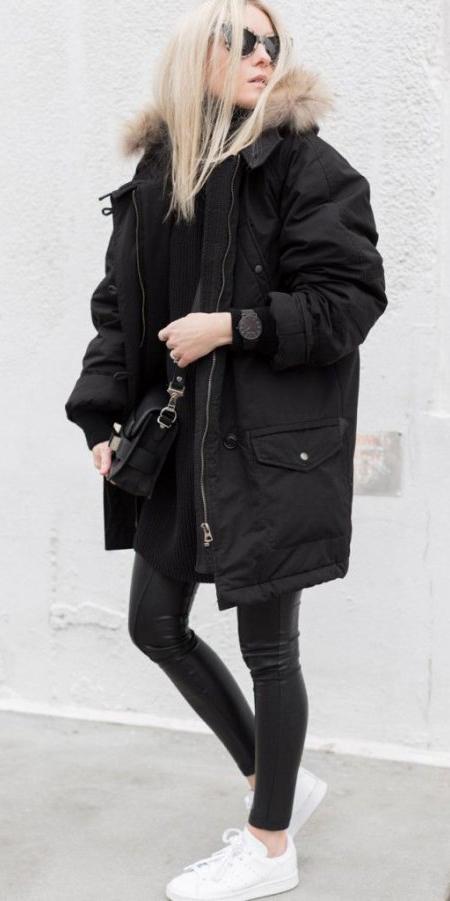 black-leggings-black-sweater-turtleneck-watch-blonde-sun-white-shoe-sneakers-black-bag-mono-black-jacket-coat-parka-fall-winter-weekend.jpg