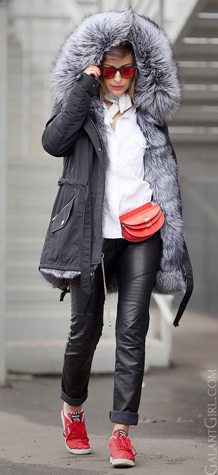 black-skinny-jeans-leather-white-collared-shirt-white-scarf-neck-bandana-red-bag-red-shoe-sneakers-sun-hairr-layer-black-jacket-coat-parka-fall-winter-outfit-weekend.jpg