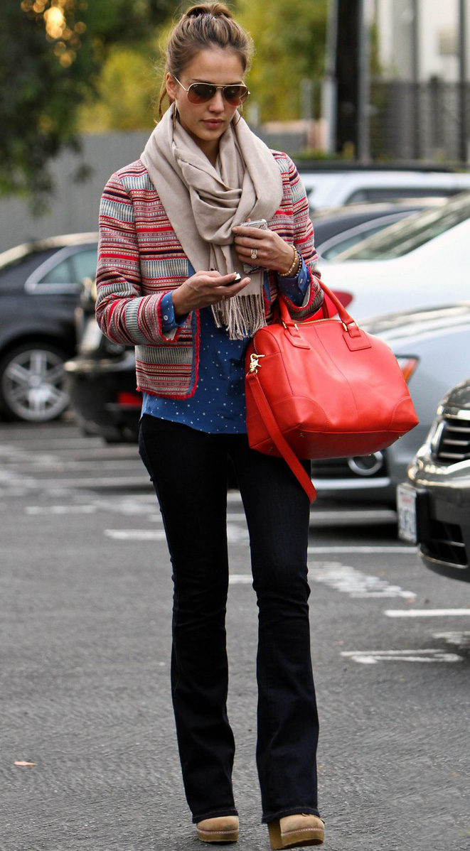 blue-navy-flare-jeans-blue-med-collared-shirt-dot-red-jacket-lady-tan-scarf-tan-shoe-booties-bun-sun-red-bag-wear-fashion-style-spring-summer-celebrity-jessicaalba-brun-weekend.jpg