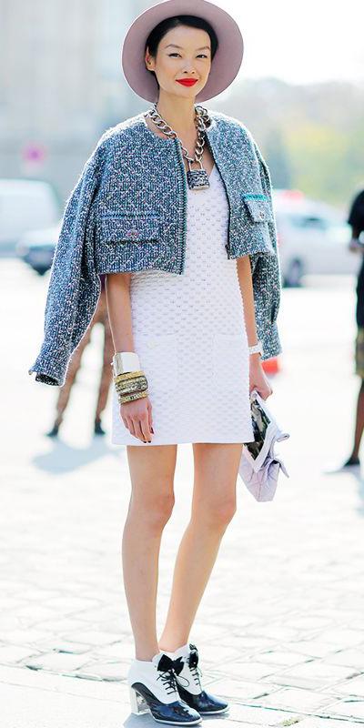 white-dress-mini-chain-necklace-white-shoe-booties-hat-bracelet-blue-med-jacket-lady-fall-winter-lunch.jpg