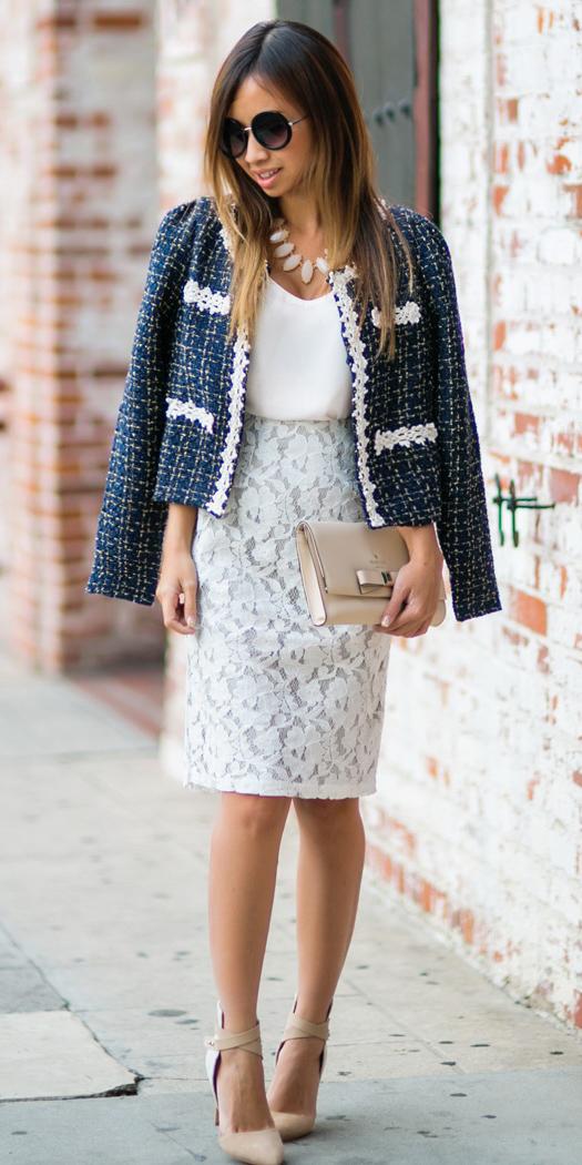 white-pencil-skirt-lace-white-cami-bib-necklace-brun-tan-bag-clutch-tan-shoe-pumps-blue-navy-jacket-lady-spring-summer-lunch.jpg