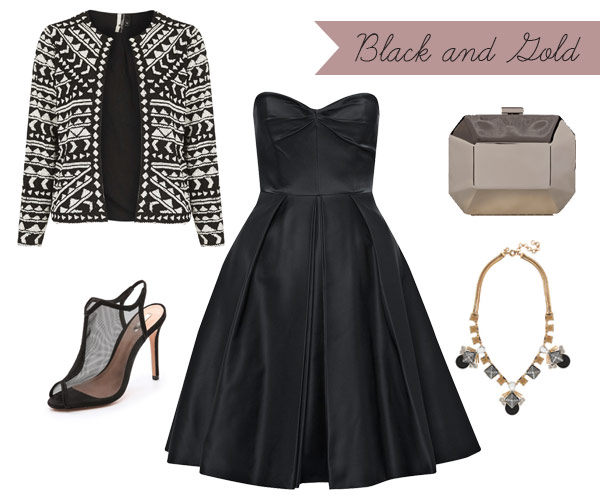 what-to-wear-for-a-winter-wedding-guest-outfit-black-dress-aline-strapless-white-jacket-lady-print-black-shoe-sandalh-bib-necklace-dinner.jpg