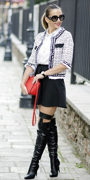 black-mini-skirt-white-collared-shirt-red-bag-pony-blonde-sun-black-shoe-boots-otk-white-jacket-lady-fall-winter-lunch.jpg